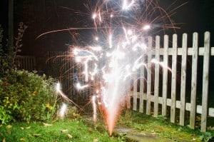 vuurwerk in de tuin