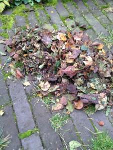De bladblazer versnippert het opgezogen afval.