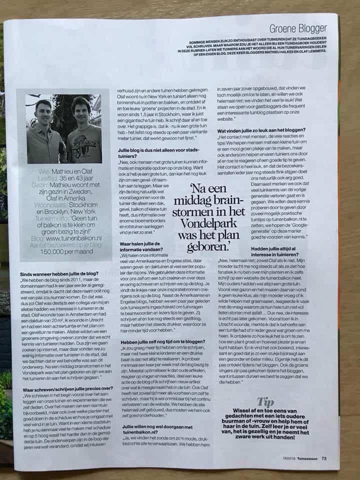 artikel tuinenbalkon in tuinseizoen magazine